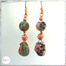Load image into Gallery viewer, Mismatched Long Dangle Earrings with Multicolor Pink and Green Gemstones and Copper
