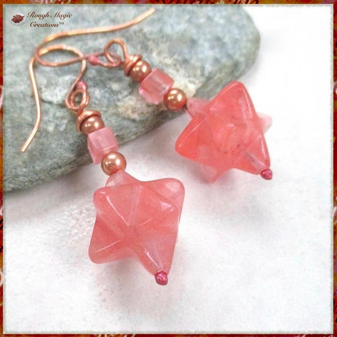 Pink Gemstone Earrings Starry Nights with Cherry Quartz Stars & Copper, Handmade Jewelry Boho Celestial Abstract Cosmic Style