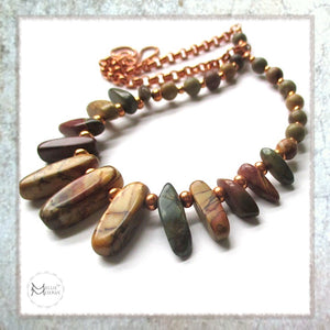 Earthy Gemstone Necklace in Southwestern colors and boho tribal style with red creek jasper and copper, handmade jewelry by Mollie Meserve for Rough Magic Creations.
