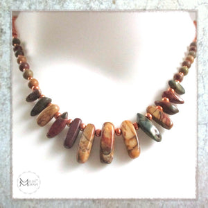 Southwestern Necklace with Earthy Colors, Red Creek Jasper Gemstones and Copper