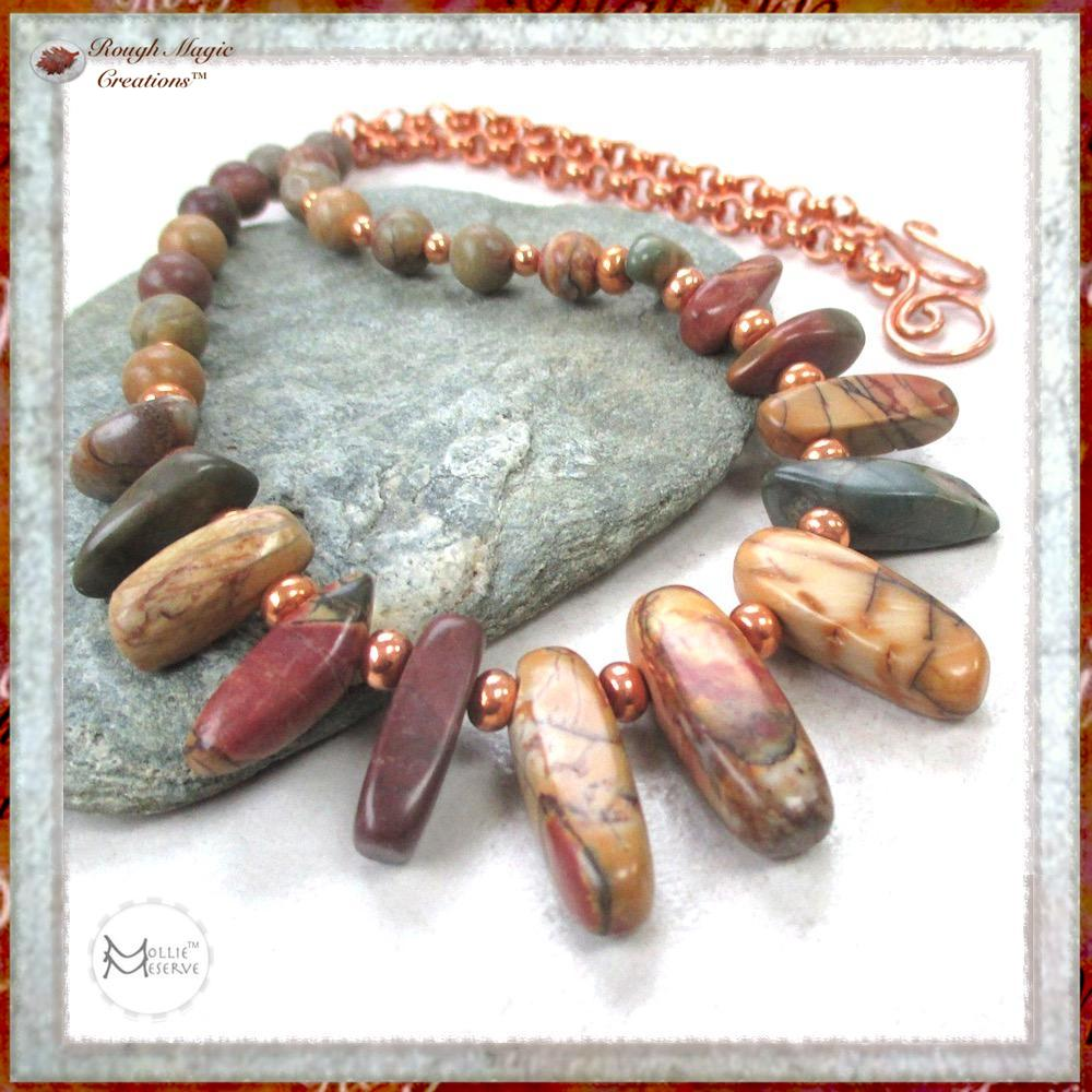 Red Creek Jasper Gemstone and Copper Necklace, Southwest Color Stones, Handmade in America by Mollie Meserve Designs for Rough Magic Creations.