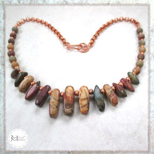 Load image into Gallery viewer, Southwestern Necklace with Earthy Colors, Red Creek Jasper Gemstones and Copper