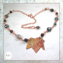 Load image into Gallery viewer, Autumn leaf copper and gemstone necklace maple leaf and agate handmade jewelry for fall