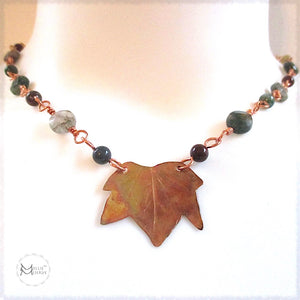 Rough Magic Creations by Mollie Meserve handmade gemstone chain necklace with hand forged copper maple leaf centerpiece