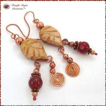 Load image into Gallery viewer, Rustic Wooden Leaves, Boho Earrings with Red Gemstone & Copper Dangles