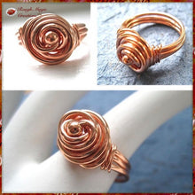 Load image into Gallery viewer, Solid Copper Rosebud Dome Ring with Wire Wrapped Bead handmade jewelry for women and men by Rough Magic Creations