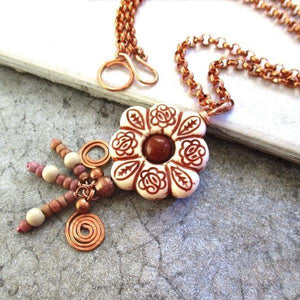 Boho Floral Pendant on Copper Chain Necklace