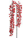 "Iced Hanging Berry Branch Spray - 44"" Long - Box of 12 - Red"