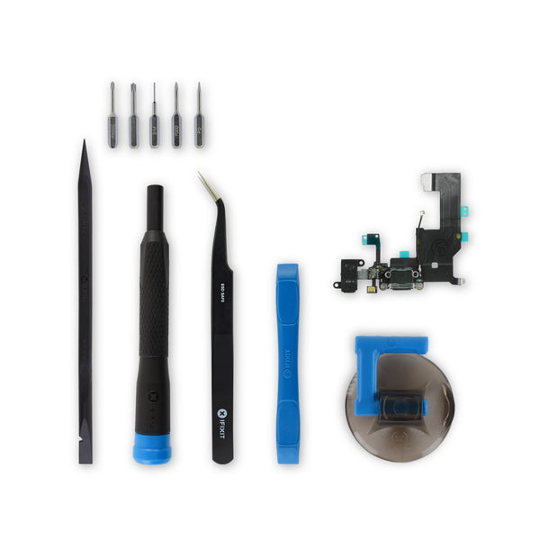 iPhone 5 Lightning Connector and Headphone Jack - New Black Fix Kit