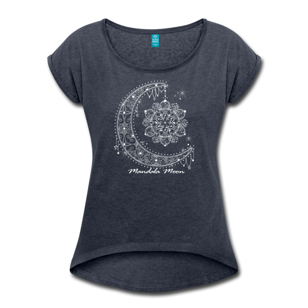 Mandala Moon Women's Roll Cuff T-shirt - navy heather