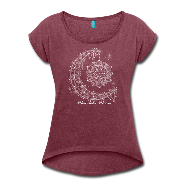 Mandala Moon Women's Roll Cuff T-shirt - heather burgundy