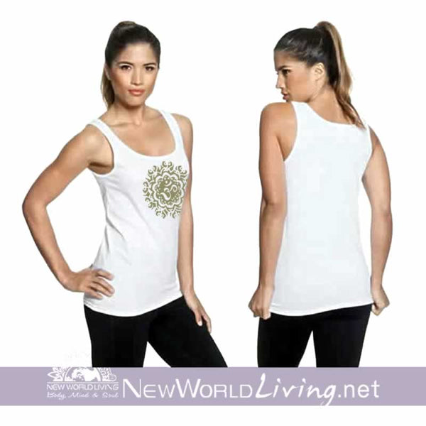 Ancient Om women's white lightweight, semi-contoured, classic tank top, S-2XL in 4 colors, sold exclusively at New World Living.