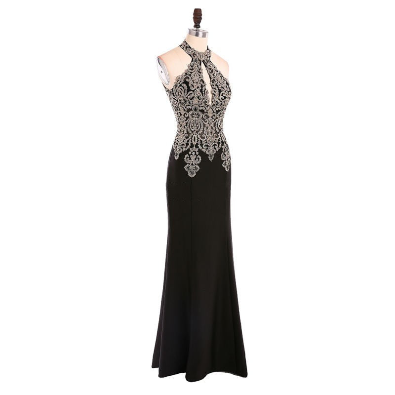 """Floor Length Halter Beaded Trumpet Prom Dress"" (CUSTOMIZABLE) - AH Boutique"