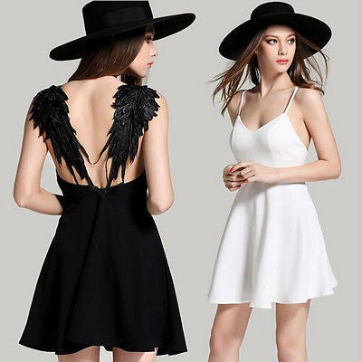 """Angel Wings Dress"" White Or Black - AH Boutique"