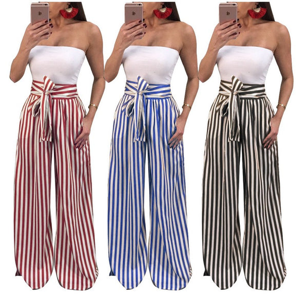 """High Waist Wide Leg Bow Tie Striped Palazzo Pants"" - AH Boutique"