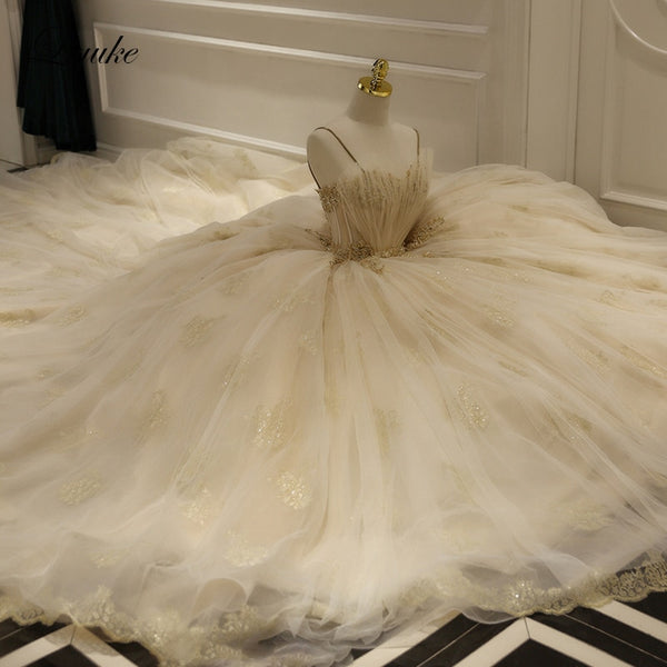 """Ballerina Inspired Champagne Spaghetti Straps Wedding Gown with Beading"" - AH Boutique"