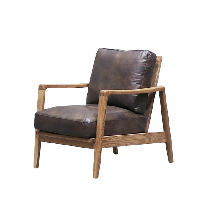 Yukon leather armchair - brown