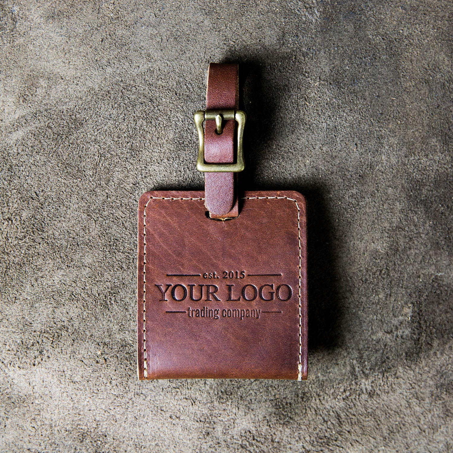 The Adventurer Custom Logo Fine Leather Luggage Tag Put Your Logo On It Corporate