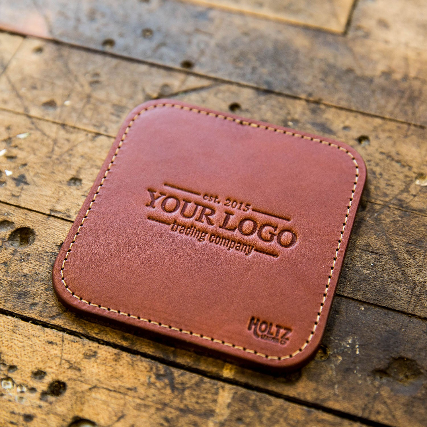 The Ranch House Custom Logo Fine Leather Coaster Set of 4 Coasters Put Your Logo On It Corporate