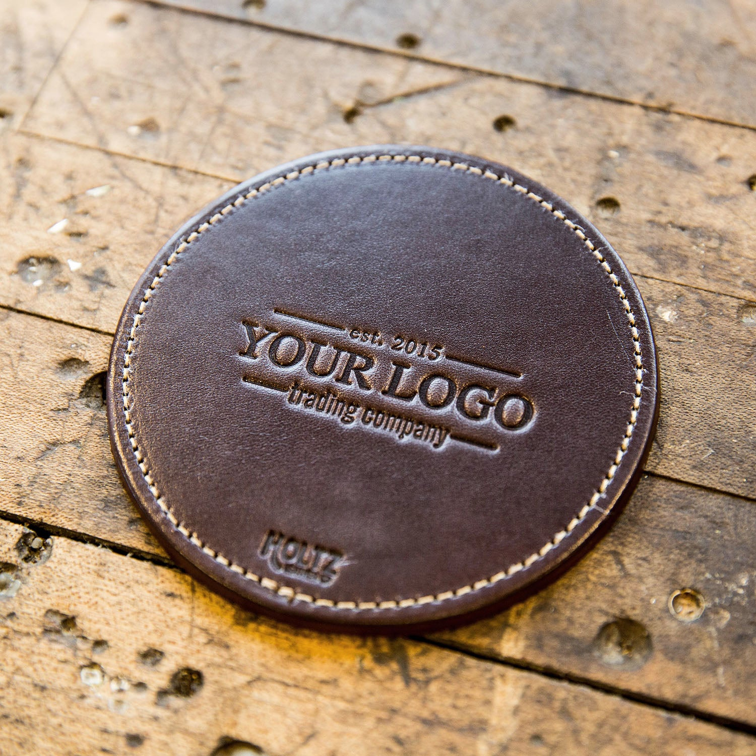 The Farm House Custom Logo Fine Leather Coaster Set of 4 Coasters Put Your Logo On It Corporate