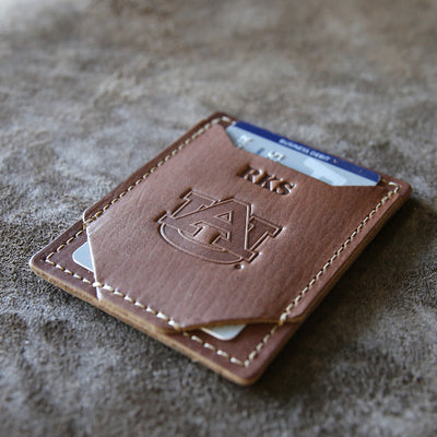 The Officially Licensed Auburn Trey Money Clip Front Pocket Fine Leather Wallet