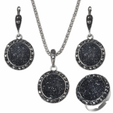 Lance black round gravel resin earrings ring necklace 4-pc set