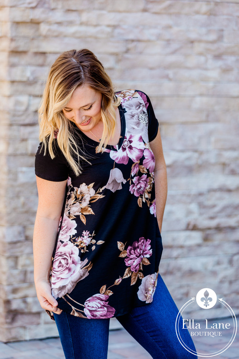 Mauve Floral V-Neck Top