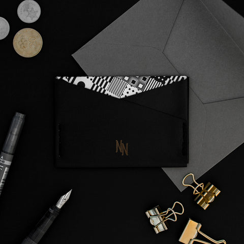 *PERSONALIZED* SuperSlim Card Sleeve - Black Leather Geometric Lining