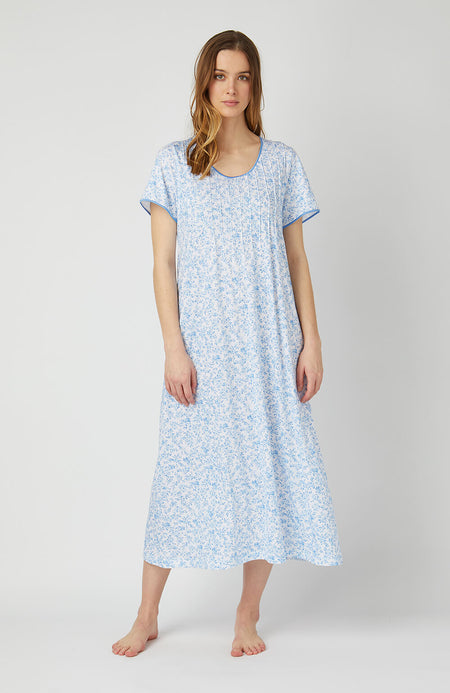 French Pleat Short Sleeve Nightdress (3111) - Blue Floral | Bonsoir of London