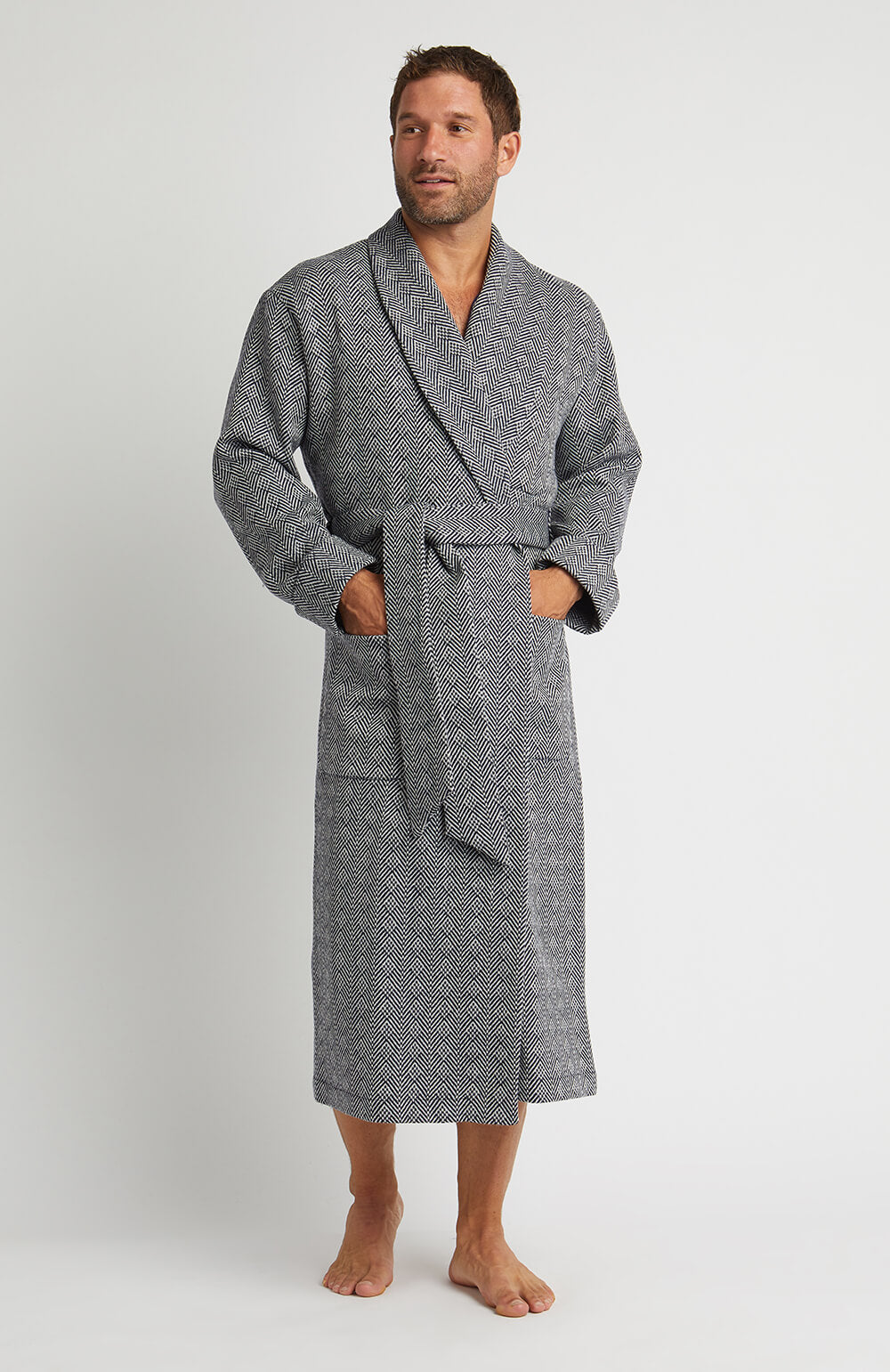 Silk-Lined Wool Robe (wlmd) - Navy Jacquard