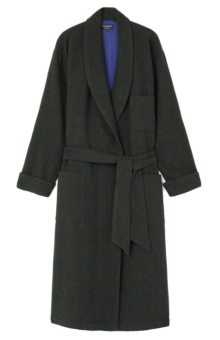 Silk-Lined Wool Robe (wlmd) - Green Check