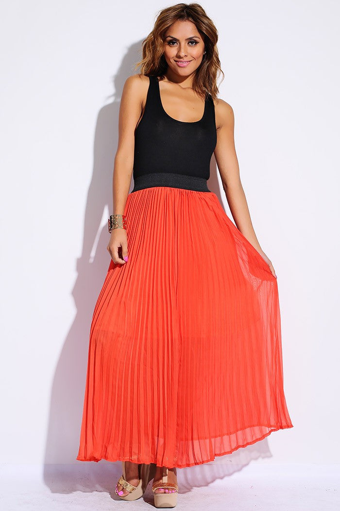 Pleated Chiffon 2fer Maxi Dress