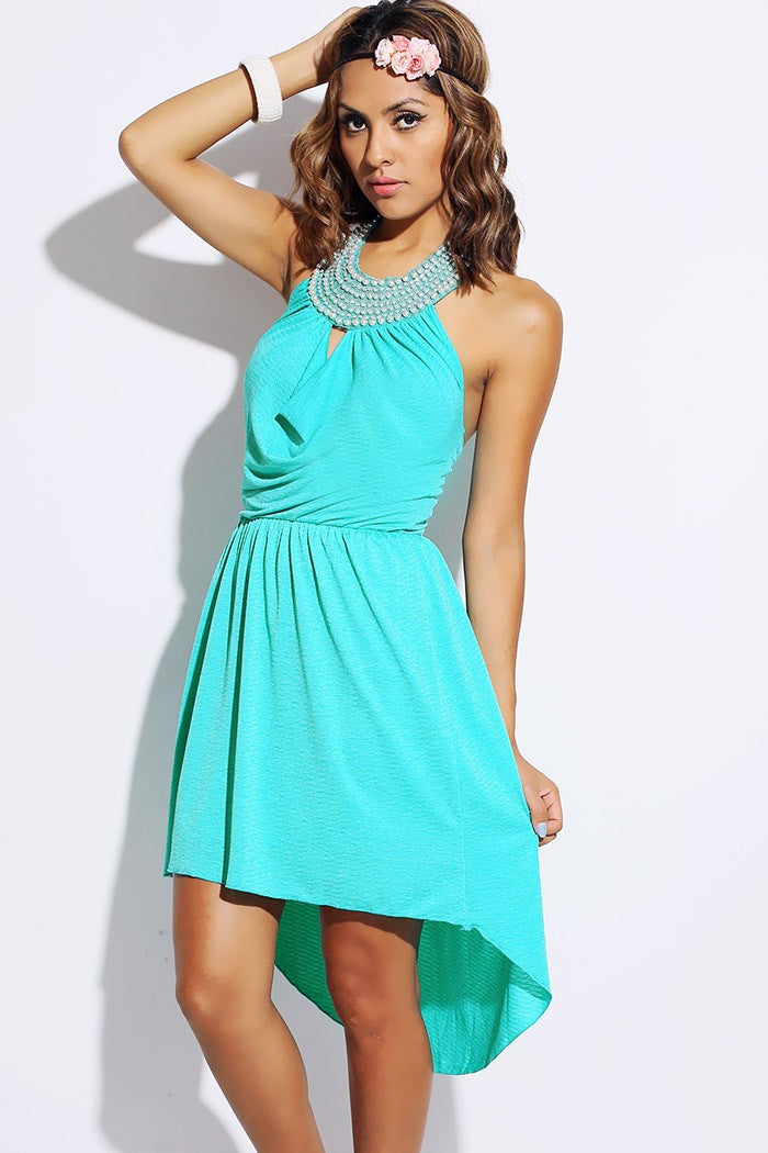 Mint bejeweled backless Party Dress