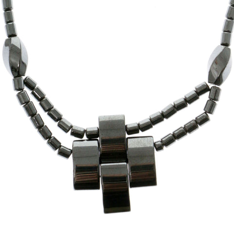 Artistic Cross Hematite-Layered-Necklace  With Bead Accents Gray Color #4147