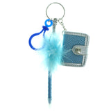 Note Pad Pen Feathered Split-Ring-Keychain Silver-Tone & Blue Colored #166