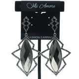 Silver-Tone & Gray Colored Metal Drop-Dangle-Earrings With Crystal Accents #600