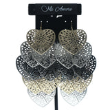 Heart Chandelier-Earrings Silver-Tone & Gold-Tone Colored #647
