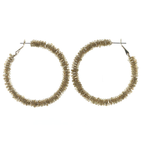 Brown & Gold-Tone Colored Metal Hoop-Earrings With Bead Accents #675