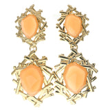 Gold-Tone & Peach Colored Metal Dangle-Earrings With Faceted Accents #721