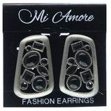 Black & Silver-Tone Colored Metal Stud-Earrings With Bead Accents #748