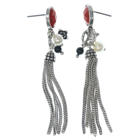 Flower Dangle-Earrings With Bead Accents Silver-Tone & Red Colored #771
