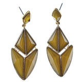 Yellow & Gold-Tone Colored Metal Dangle-Earrings With Faceted Accents #831