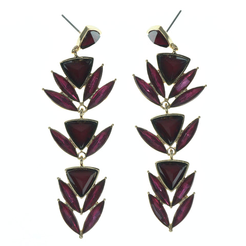 Purple & Gold-Tone Colored Metal Dangle-Earrings With Faceted Accents #838