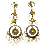 Gold-Tone & Yellow Colored Metal Clip-On-Earrings With Faceted Accents #856