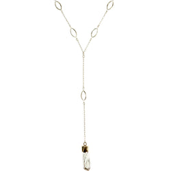 Adjustable Length Y-Necklace With Faceted Accents  Gold-Tone Color #3796
