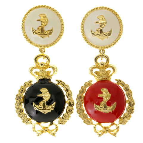 Anchors Crown Bow Clip-On-Earrings Colorful & Gold-Tone Colored #LQC131