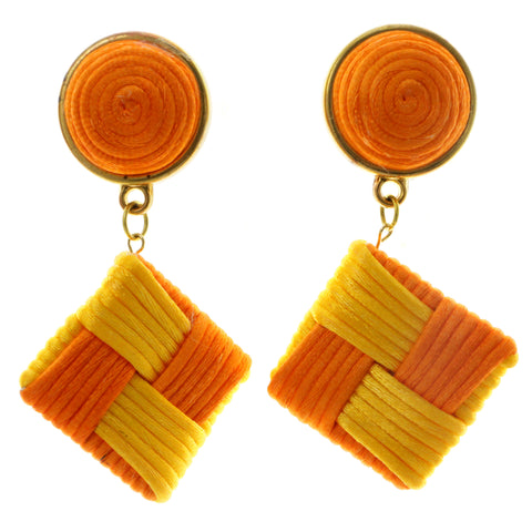 Colorful & Gold-Tone Colored Fabric Clip-On-Earrings #LQC233