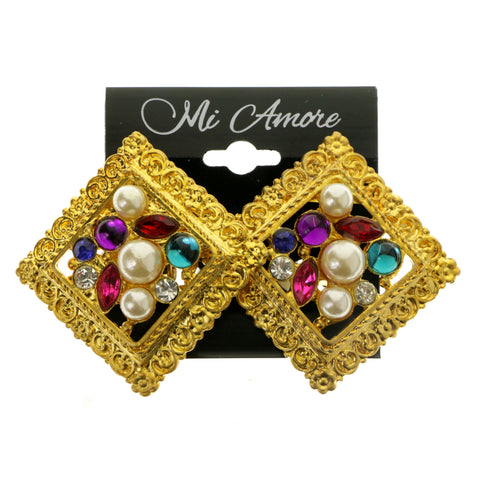 Gold-Tone & Multi Colored Metal Clip-On-Earrings With Faceted Accents #LQC298