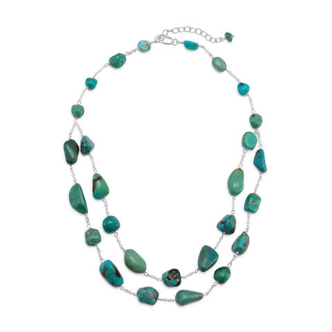 "16"" + 2"" Extension Double Strand Reconstituted Turquoise Nugget Necklace"