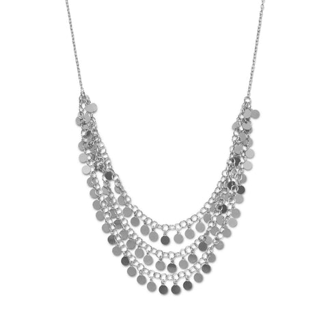 Rhodium Plated Polished Disk Drop Necklace